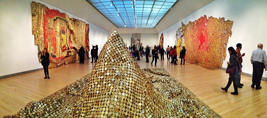 """Gravity and Grace: Monumental Works"" by El Anatsui at the Brooklyn Museum"